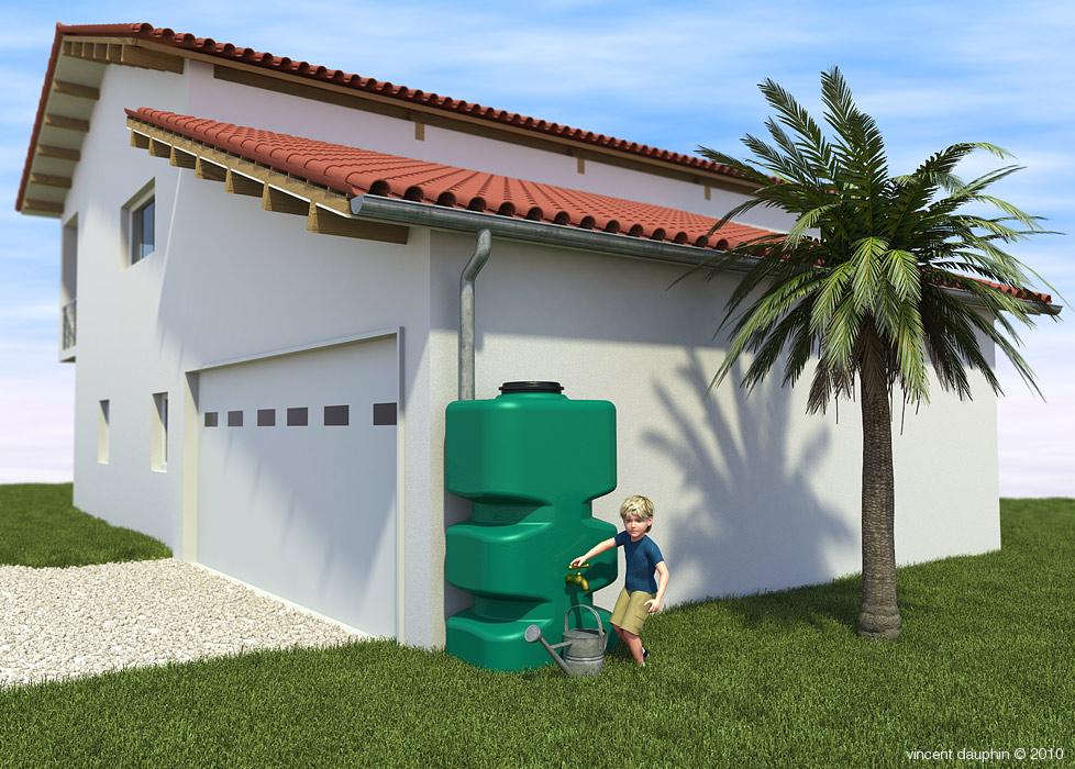 Illustration citerne récupération eaux de pluie